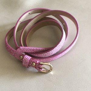 NWOT Ann Taylor hot pink w/ white dot detail belt